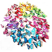 Rich Boxer 60 PCS 3D Colorful Butterfly Wall Stickers Art Decor Crafts Butterfly Wall Decals Removable DIY Home Decorations Magnets and Double-Sided Tape Set