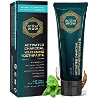 Active Wow Activated Charcoal Toothpaste - Teeth Whitening Formula with Organic Coconut Oil & Xylitol