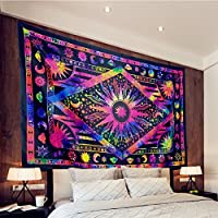 Twin Colors Of Rajasthan CORs Marijuana Weed Leaf Tapestry Twin Cannabis Tapestries Hippie Black Mandala Leaf Wall Hanging Gypsy Wall Decor 55 x 85 Inches COR1001
