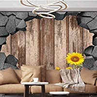 Wall Paper Decorations 3D trap Antique Old Planks American Style Western Rustic Wood sunflower flower grass Self-Adhesive Large Wallpaper,154