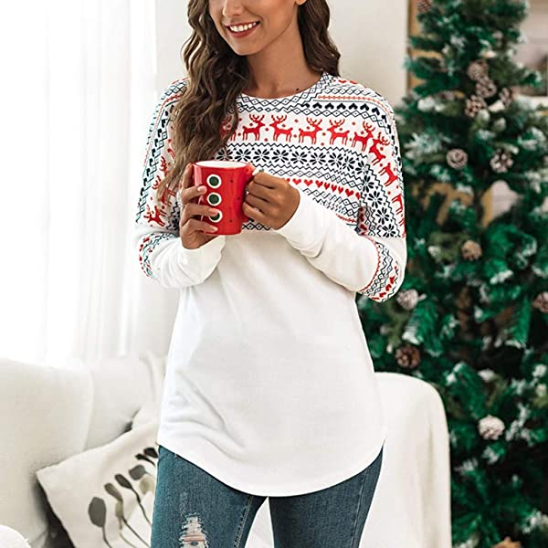 YESOT Christmas Women Xmas T-Shirt Ladies Long Sleeve Patching Blouse Casual Winter Autumn Sweatshirt Tops