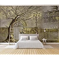 3D Wallpaper Tv Wall Decor Stickerr Embossed Golden Tree Retro Street View Modern Wall Paper Wall Stickers for Bedroom Decor