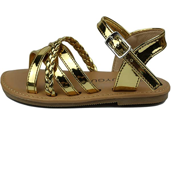 MUYGUAY Toddler Girls Sandals Open-Toe Leather Girls Flats Sandals with  Cross Strap Casual Summer Shoes for Baby/Little Girls Sandals