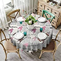 Fashion House Decor Polyester Round Tablecloth Retro Style Newspaper with Colorful Ornamentals Modishness Illustration Polyester Fabric Table Cloth White Pink D160 Inch