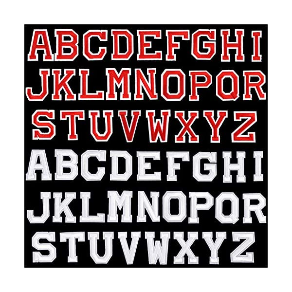 Shirts and Jeans DIY Craft Sewing Projects 104 Pieces Iron on Letter Patches Sew on Alphabet Patches Fabric Letters Patches Embroidered Patch A-Z Letter for Hats Jackets 104