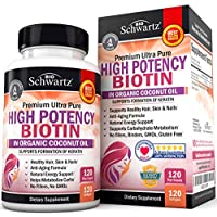 High Potency 10000mcg Biotin with Organic Coconut Oil - for Healthy Hair, Skin & Nail Support - Promotes Keratin Formation & Hydration - Anti-Aging, Metabolism & Natural Energy Support - 120 Capsules