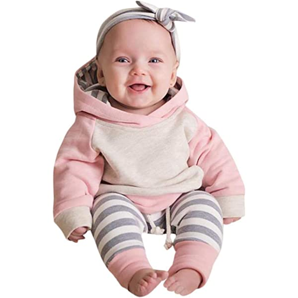 Baby Boys Girls Clothes Long Sleeve Hoodie Tops Sweatsuit Long Pants Outfit Set (Pink,Size 12-18 Months(90))