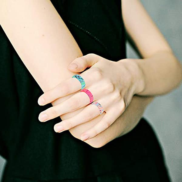 Size 6 7 8 9 Olgaa 18 Packs Silicone Wedding Ring for Women Colorful Bohemian Thin Rubber Band