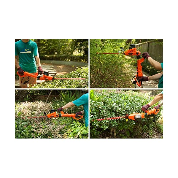 NBCYHTS Corded Electric Hedge Trimmer with 20 Laser Blade 4.8A Multi-Angle 2 in 1 Pole and Portable Hedge Trimmer