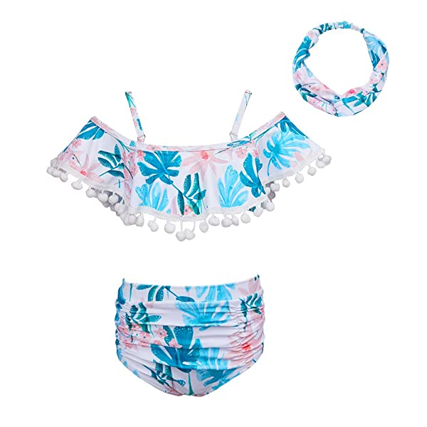 Cutemile Girls One Piece Swimsuit Cute Off Shoulder Quick Dry Bathing Suit with Ruffled Hem 3-10 Years