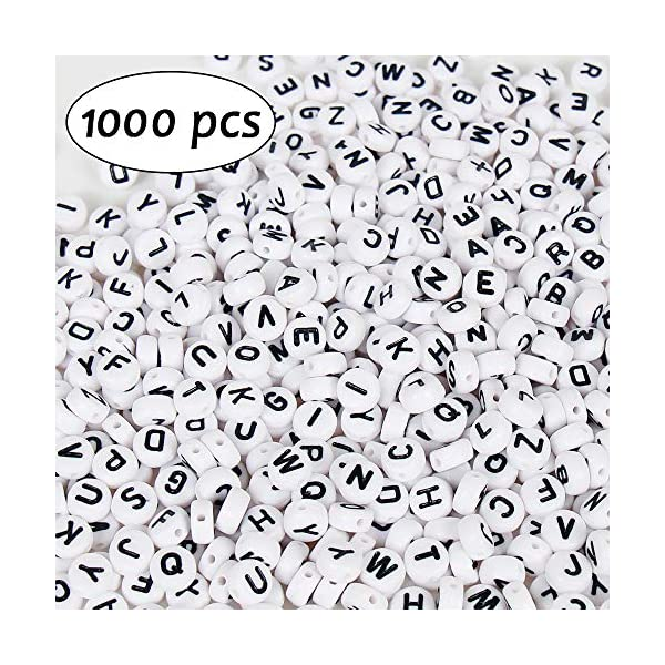 Lage Hole Beads Multi Color 6x9mm 1200pcs 7x4mm Letter Beads Jewelry Making and Crafts with 2 Elastic String Cords White Acrylic Alphabet Beads for Name Bracelets