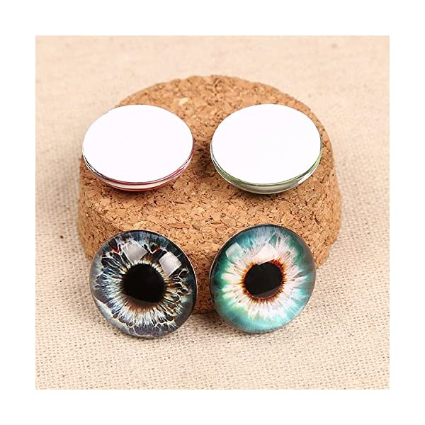 10Pairs JJG 20PCS 25mm Mixed Style Dragon Eyes Doll Eyes Half Round Glass Dome Cabochons for Doll Puppet or DIY Jewelry Making