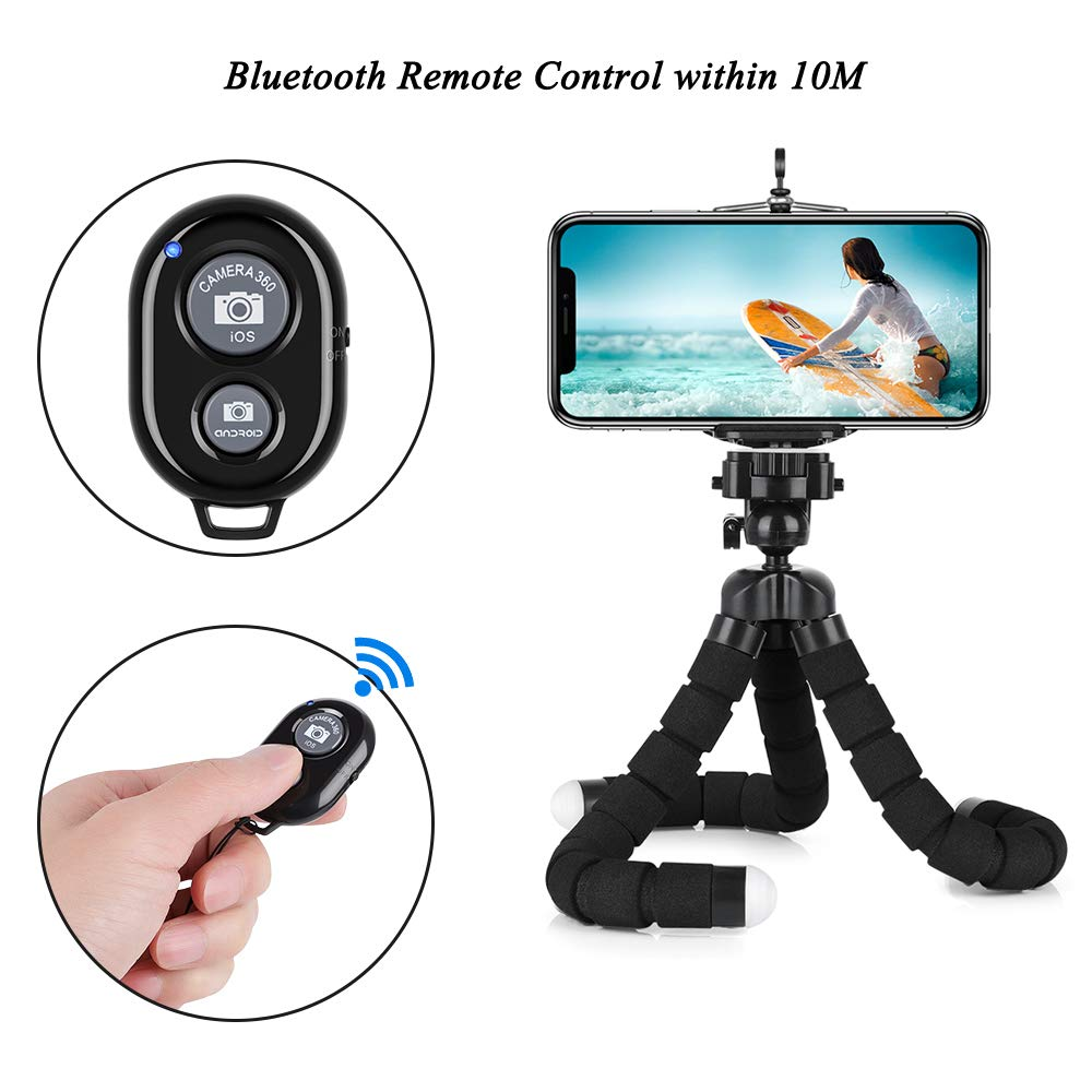 Phone Tripod 7.48 inch Travel Portable and Adjustable Camera Stand Holder with Wireless Remote and Universal Clip for iPhone Sports Camera GoPro Camera Android Phone