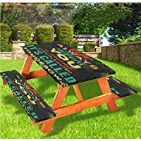 Angel Bags Grunge Picnic Table & Benches Cover,Life Always Offers You a Second Chance Its Called Tomorrow Motivational Quote 72