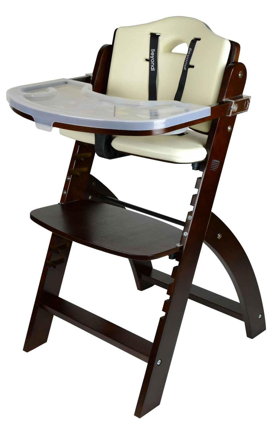 Fornel Heartwood Black Adjustable Wooden High Chair Baby Highchair Solution for Babies and Toddlers Dining Highchair from 24 Months