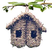 Bird Nest Grass Bird Hut Outdoor Hanging Birdhouse Canaries Nest Chickadee House, Wren Nest Fiber Hand-Woven Bird House Roosting Pocket Bird Hideaway Sparrow House for Finch