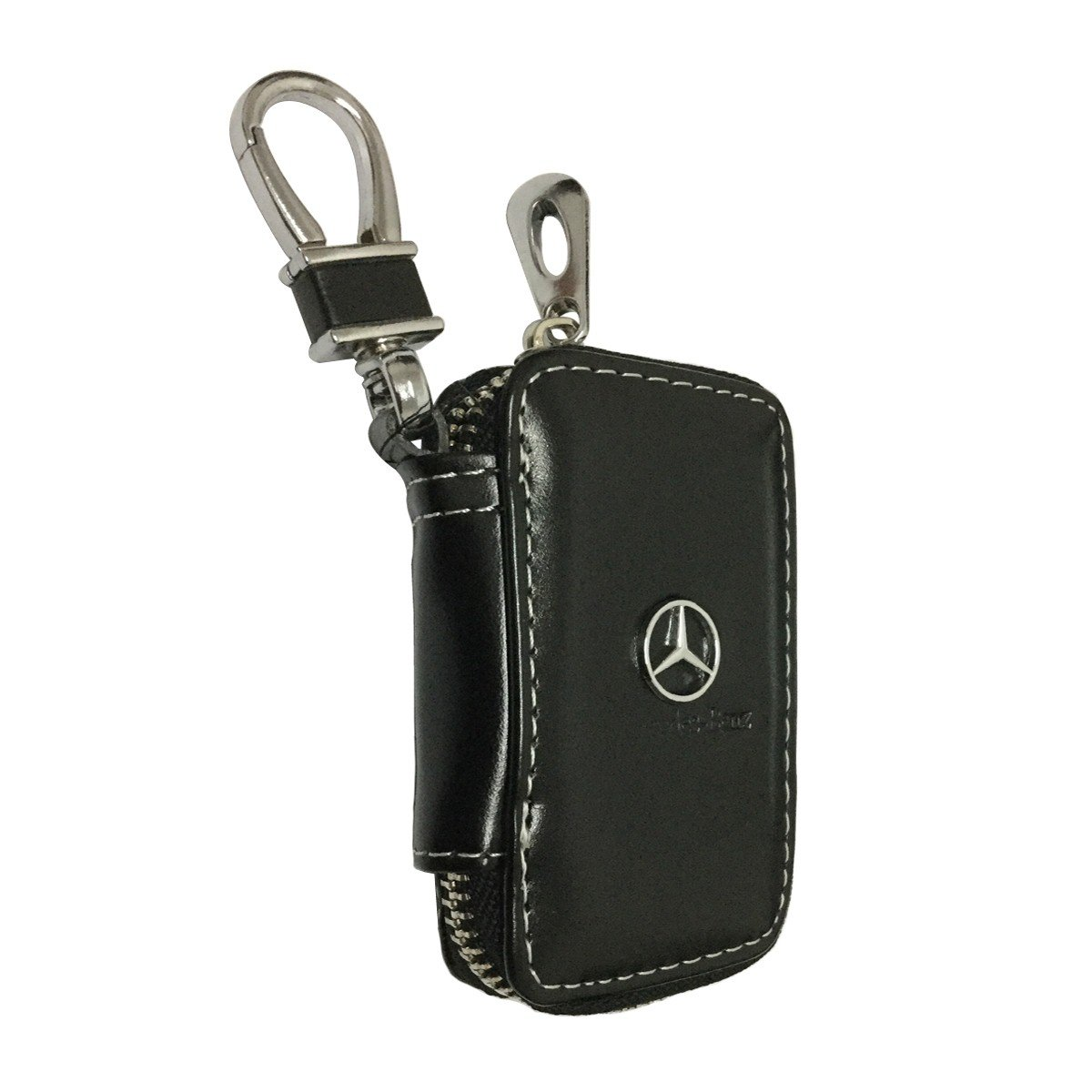 YIKA New Car Key Chain Bag Genuine Leather AMG Car Smart Keychain Keyring Wallet Zipper Case Auto Remote Key Fob for Mercedes Benz