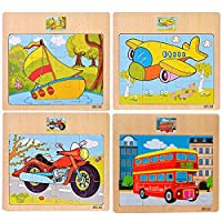 CCLIFE Wooden Jigsaw Puzzles Set for Kids 2-5 Years 12 Piece Colorful Wooden Educational Transport Vehicles(4 Puzzles)