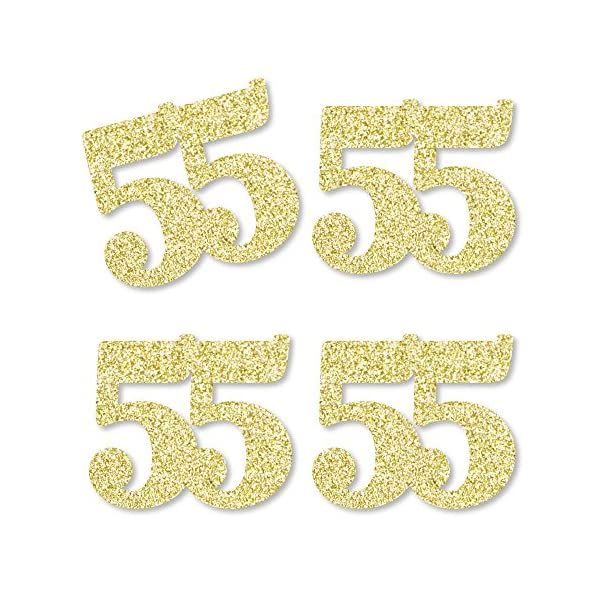 No-Mess Real Gold Glitter Cut-Out Numbers Set of 24 Gold Glitter 6 6th Birthday Party Confetti
