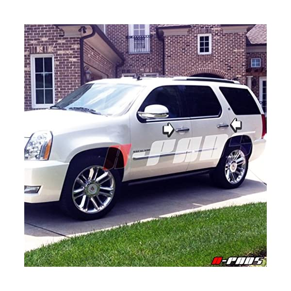 Covers for 2007 08 09 2010 11 12 2013 Cadillac Escalade//Chevy Avalanche//Silverado//Tahoe//Suburban A-PADS for Chrome TOP Mirror Door Handle Without Passenger Keyhole