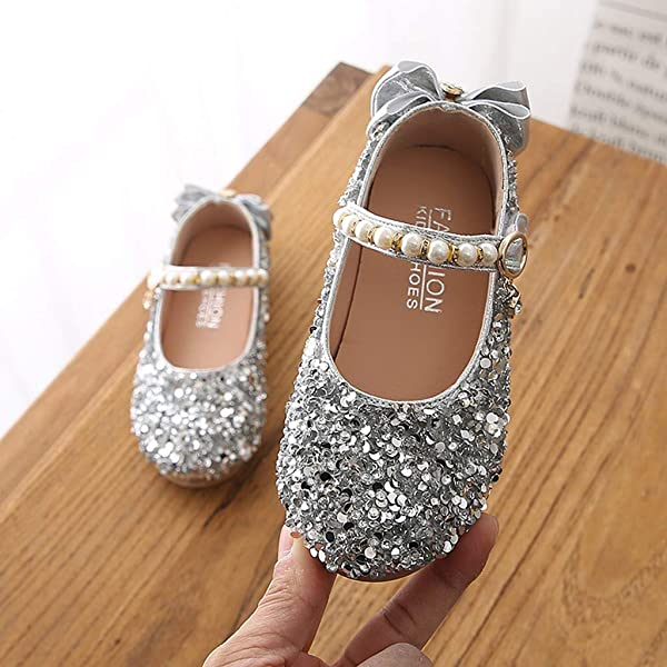 ❤️Rolayllove❤️ Dance Shoes for Toddler Girls,Kids Girls Cute Crystal Bowknot Pearl Princess Dance Mary Jane Glitter Flat Shoes