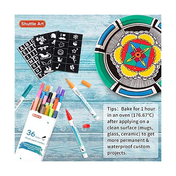 Plastic Paint Pens,Shuttle Art 26 Colors Acrylic Paint Markers Low-Odor Water-Based Quick Dry Paint Markers for Rock Wood Metal Ceramic Canvas Glass