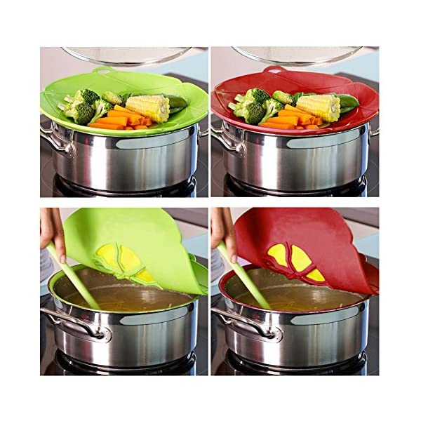 ATROPOS 3 Pack Spill Stopper Lid Cover,Boil-Over Spill Stopper,Silicone Spill stopper for Pans and Pots Boil Over Safeguard with 1pair Silicone Pot Mitts