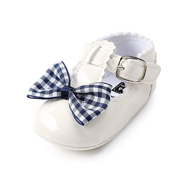 Kuner Baby Girls Cotton Bowknot Flowers Non-Slip Outdoor Toddler Summer Sandals First Walkers Shoes