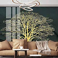 Albert Lindsay Backdrop Wall Paper Decorations Golden Trees Yellow Ripples Self-Adhesive Wallpaper,152X108 inches/386x275 cm,Wall Stickers for Office Bedroom School Family Wall Decals