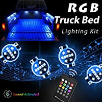 LED 8pc RGB Truck Bed Lighting Kit, Megulla Multi-Color Super Bright Work Light -Sound Activated Music, IP67 Waterproof, Wireless RF Remote, On/Off Switch- for Trucks, Pickups, Trailers and Boats