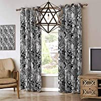 Garden Art Casual romantic curtain Botanical Pattern with Hand Drawn Flowers Frangipani Mimosa and Lotus Premium Blackout Thermal Insulated Room Darkening Curtains Black White Pale W108 x L96 Inch