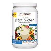 Nutiva Organic Plant Protein Superfood for Shakes and Smoothies, Vanilla, 1.4 Pound