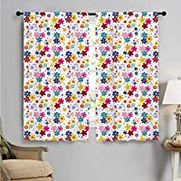 SUZM Window Curtain Drape, Faces Dots and Circles, Decorative Curtains for Living Room W72 x L45 Inch