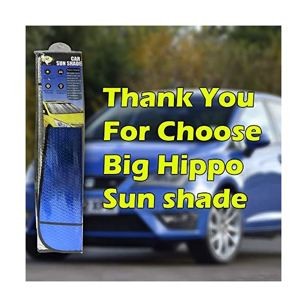 Hippo Front Car Sunshade Windshield-Jumbo//Standard Sun Shade Keeps Vehicle Cool-UV Ray Protector Sunshade-Easy to Use Sun Shade-Silver 54.7X 28.3