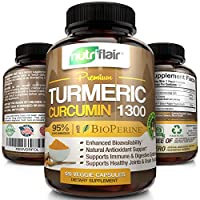 NutriFlair Premium Turmeric Curcumin Supplement (1300mg) with BioPerine Black Pepper (120 Capsules, 60 Day Supply) - Powerful Joint Pain Relief, Anti-Inflammatory Antioxidant - GMO and Allergen Free