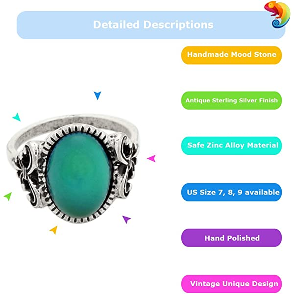 MOJO JEWELRY Mood Ring Adjustable in Antique Sterling Silver Finish Best Handmade Mood Stone