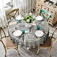 Antique Decor Collection Holiday Tablecloths Round Vintage Styled Layered Sepia Toned Newspaper Print with Old Fashioned Illustrations Home Fashions Farmhouse Living Tablecloth Black Cream D120 Inch