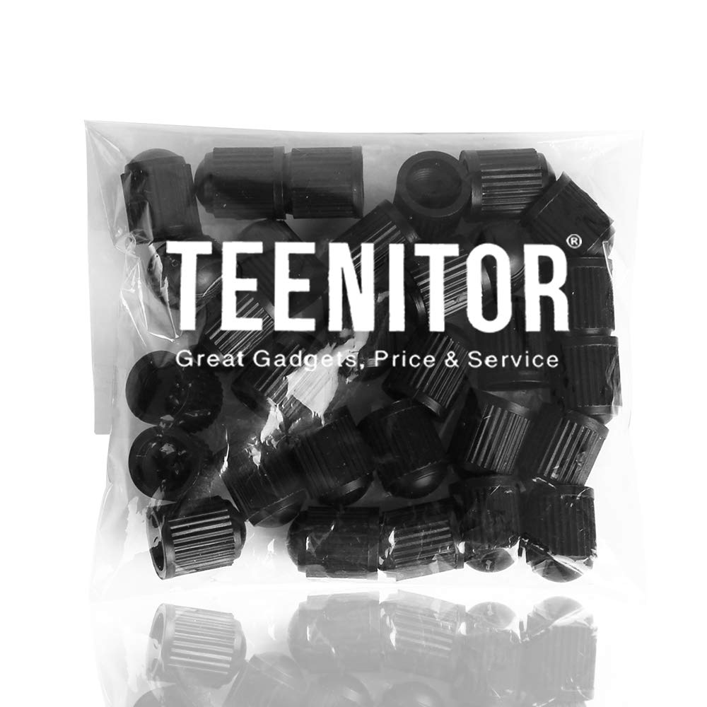 Teenitor 30 PCS Plastic Valve Stem Caps with Rubber Ring Gasket Motorcycles Black Universal Fit Size Air Tight Seal Tire Cap Cover Tire Dust Caps for Cars,Bikes,Trucks,/& Bicycles