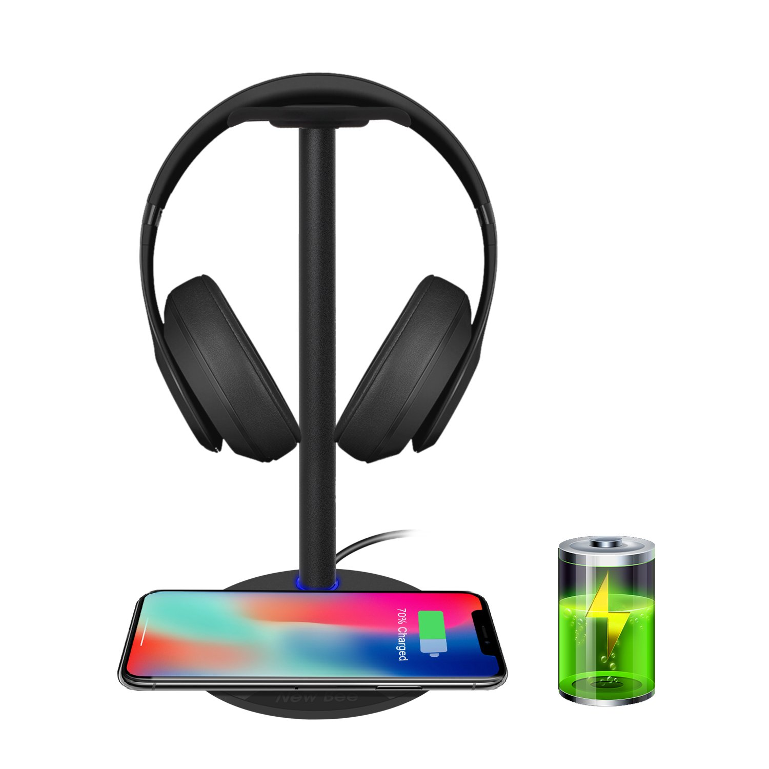 AODUKE Wireless Charger Stand,4 in 1 Wireless Charging Station Dock Compatible with iWatch 5 4 3 2 1 Airpods,iPhone 11 11 Pro X Xs XR Max 8 Plus 8 Samsung Galaxy S9 S8 and Headphones Stand Holder