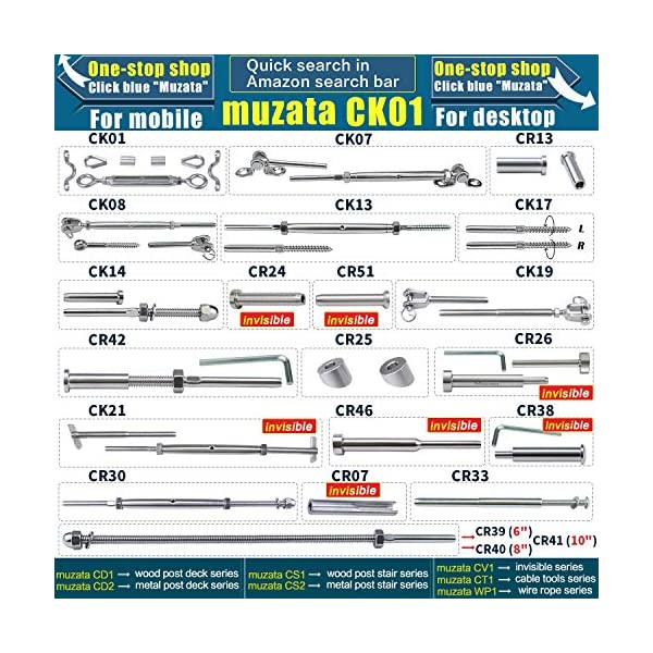 Muzata 1//8 Invisible Cable Railing Kit,10Pack Lag Swage Turnbuckle Tensioners and 10pack End Fittings,T316 Marine Grade Stainless Steel,10Pair Wire Rope Rail Hardware CK21,Series CA1 CS1