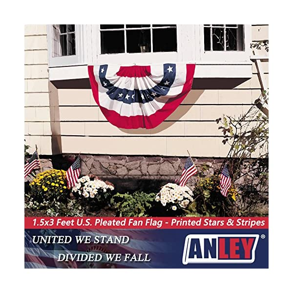 ANLEY USA Pleated Fan Flag 1.5x3 ft American US Bunting Flag Patriotic Stars /& Stripes United States 1.5 x 3 Feet Half Fan Banner Canvas Header and Brass Grommets Sharp Color and Fade Resistant