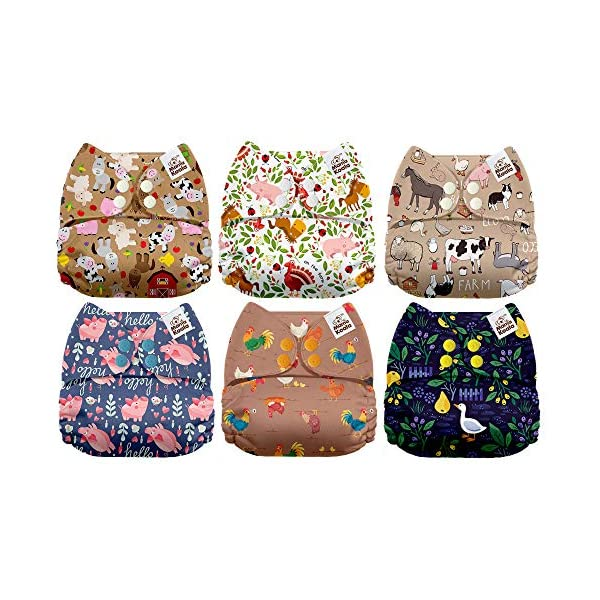 Mama Koala One Size Baby Washable Reusable Pocket Cloth Diapers Mr. Tree Harvester 6 Pack with 6 One Size Microfiber Inserts
