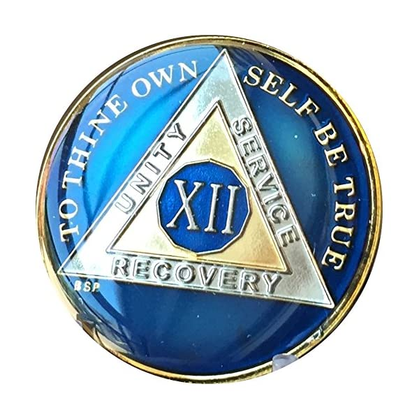 8 Year Midnight Blue AA Medallion Alcoholics Anonymous Chip Gold /& Nickel Plate