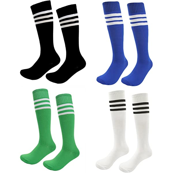 Youth Soccer Shin Guards 2 Pair Soccer Shin Pads with 2 Pair Knee Soccer Socks and Stainless Steel Whistle Protective Gear Soccer Equipment for 3-10 Years Old Boys Girls Children Teenagers