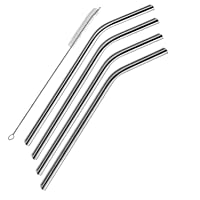 Hulless Stainless Steel Drinking Straws 10.5 Inch Bent, 4pcs Reusable Drinking Metal...