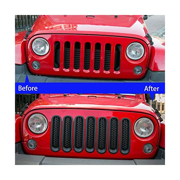 Chrome JeCar 7pcs Grille Grill Cover Inserts Kit for 2007-2015 Jeep Wrangler JK /& Unlimited