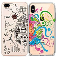 Lex Altern Couple Case for iPhone 11 Pro Xs Max 10 X Xr 8 Plus 7 6s SE 5s Relationship Hemispheres Science Silicone Artistic Brain Print Slim TPU Design Girlfriend Cover Flexible Sides Matching BFFs
