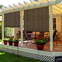 TANG Sunshades Depot Exterior Roller Shade for Deck Porch Pergola Balcony Backyard Patio or Other Outdoor Spaces Blinds Light Filtering Block 90% UV Rays Brown 6' x 6' (72'' x 72'')