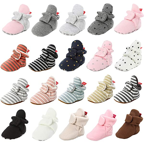 CENCIRILY Newborn Baby Girls Boys Cotton Booties Stay On Slippers Cozy Warm Non-Slip Ankle Boots with Grippers First Walkers Socks Shoes