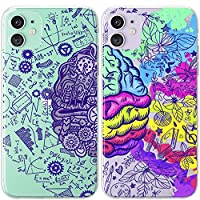Mertak TPU Couple Cases Compatible with iPhone 12 Pro Max Mini 11 SE Xs Xr 8 Plus 7 6s Colorful Clear Flexible Matching Sides Silicone Artistic Science Lightweight Design Brain Slim Cute Soulmate